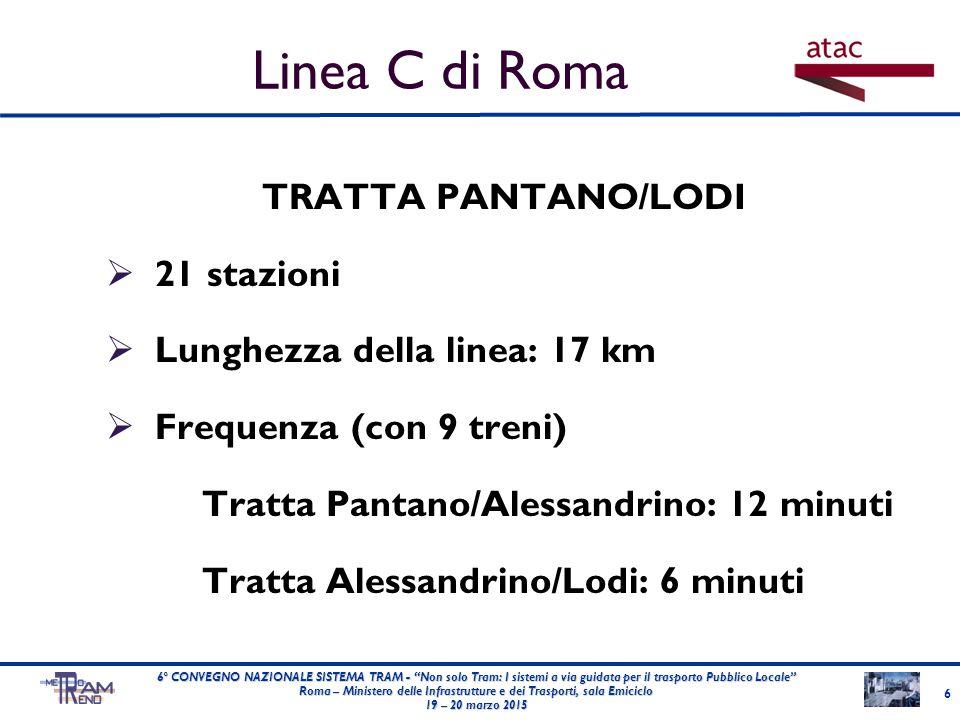 TRATTA PANTANO/LODI  21 stazioni  Lunghezza della linea: 17 km  Frequenza (con 9 treni) Tratta Pantano/Alessandrino: 12 minuti Tratta Alessandrino/