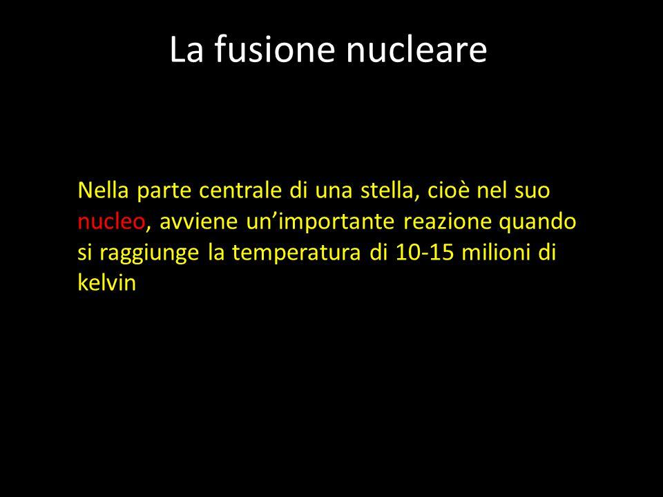 La fusione nucleare Nella parte centrale di una stella, cioè nel suo nucleo, avviene un'importante reazione quando si raggiunge la temperatura di 10-15 milioni di kelvin