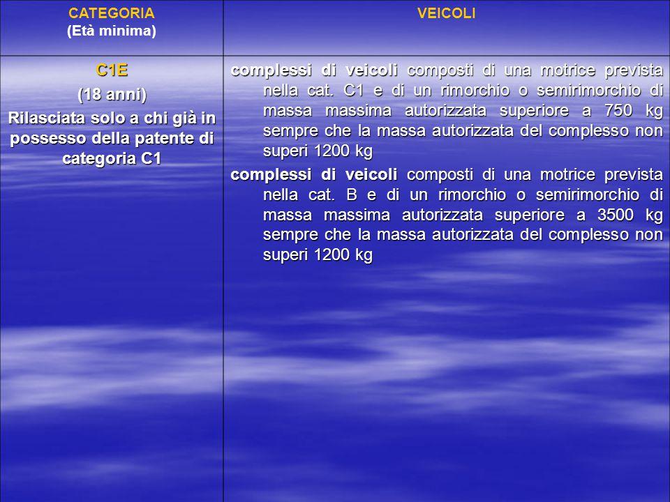CATEGORIA (Età minima) VEICOLI C1E (18 anni) Rilasciata solo a chi già in possesso della patente di categoria C1 complessi di veicoli composti di una