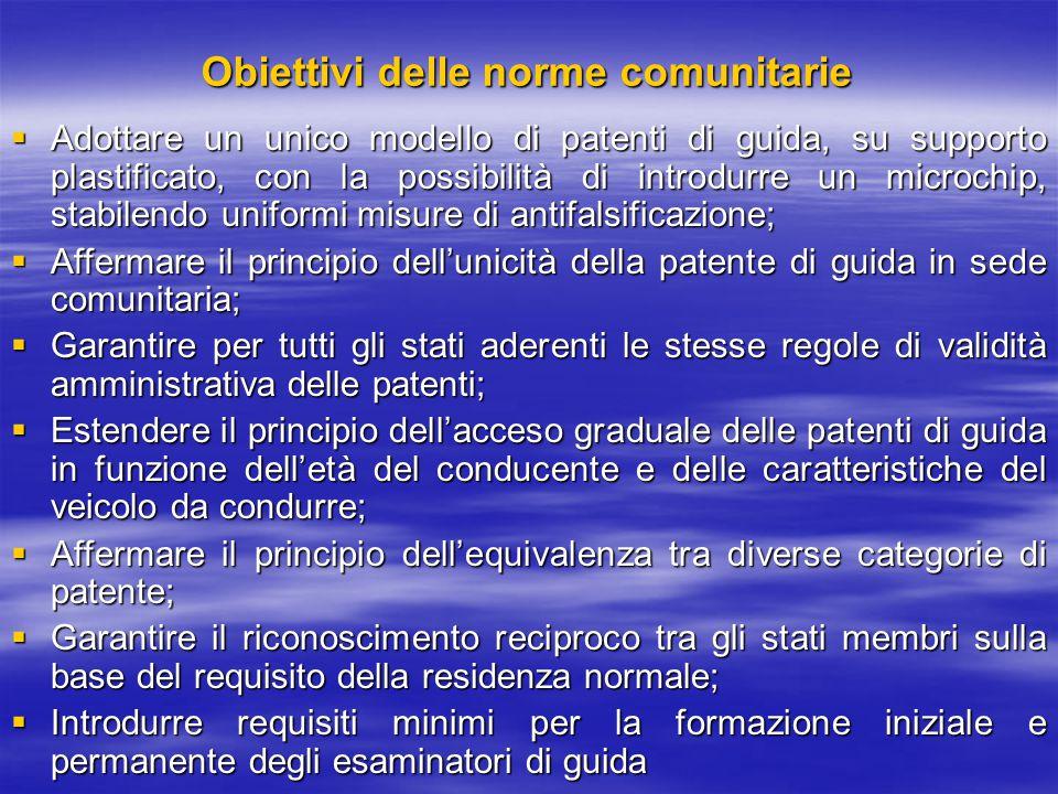 Obiettivi delle norme comunitarie  Adottare un unico modello di patenti di guida, su supporto plastificato, con la possibilità di introdurre un micro
