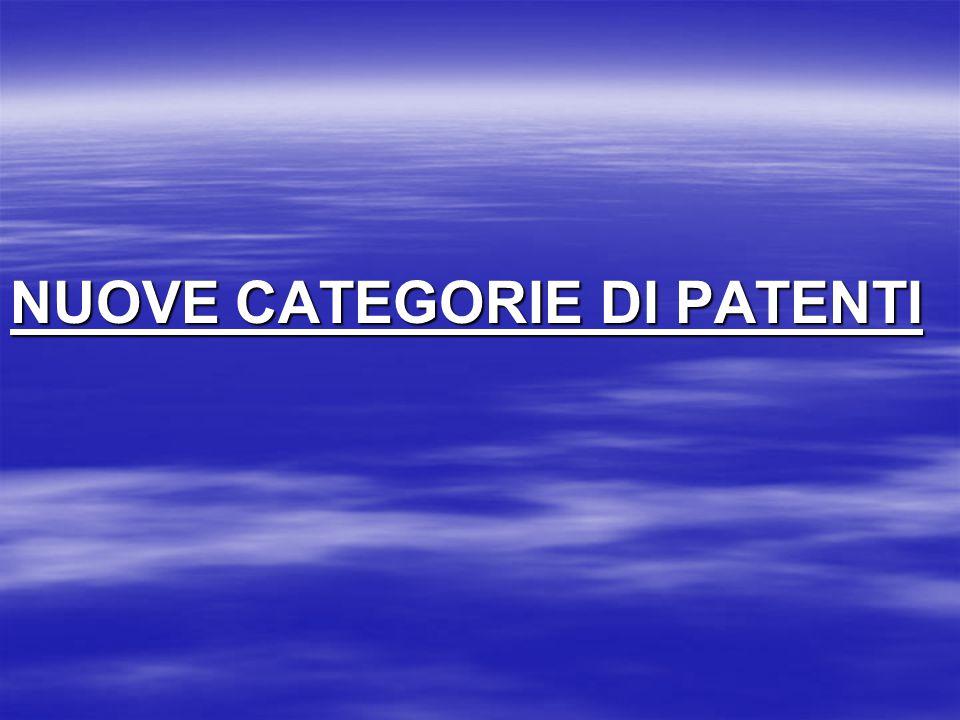 CATEGORIA (Età minima) VEICOLI CE (21 anni) Rilasciata solo a chi già in possesso della patente di categoria C complessi di veicoli composti di una motrice prevista nella cat.