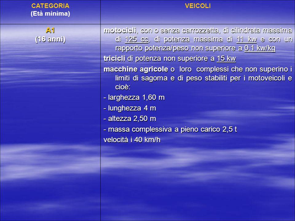 CATEGORIA (Età minima) VEICOLI A1 (16 anni) motocicli, con o senza carrozzetta, di cilindrata massima di 125 cc, di potenza massima di 11 kw e con un