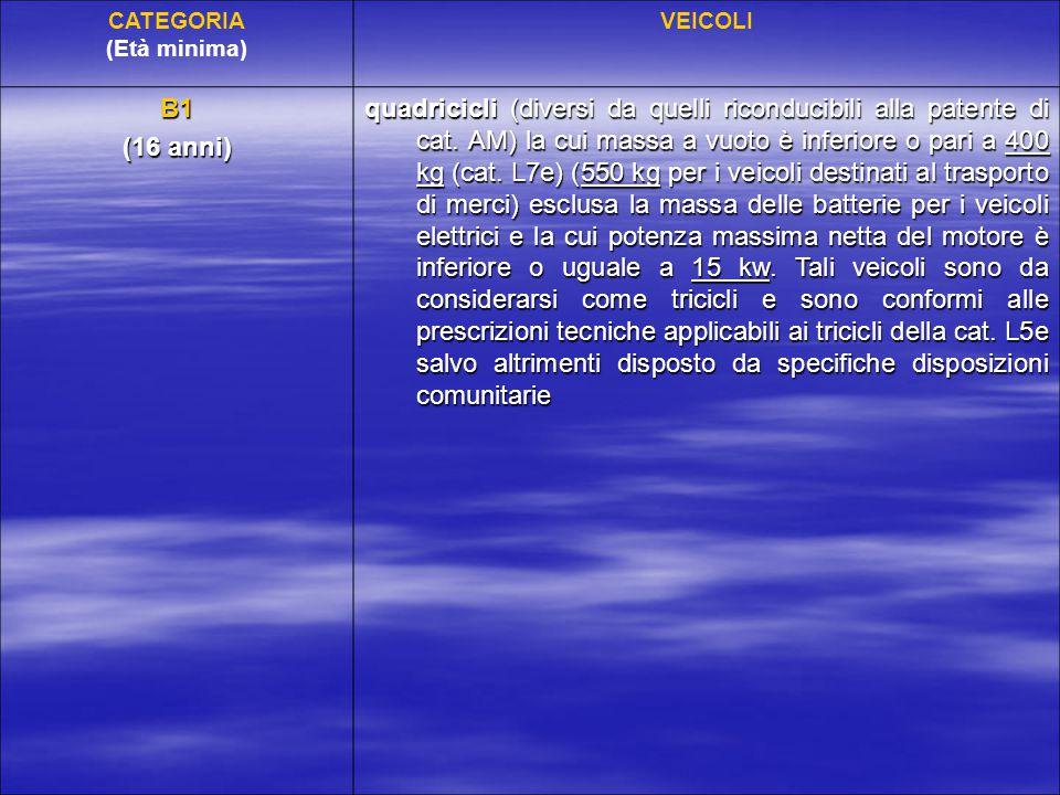 Tabella di equipollenza alle nuove categorie di patenti dei titoli abilitativi alla guida rilasciati prima del 19/01/2013