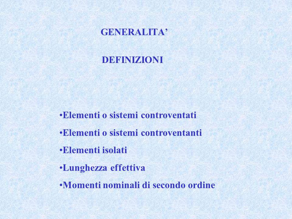 GENERALITA' DEFINIZIONI Elementi o sistemi controventati Elementi o sistemi controventanti Elementi isolati Lunghezza effettiva Momenti nominali di secondo ordine