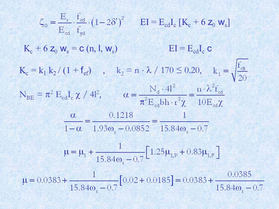 K c = k 1 k 2 / (1 + f ef ) N BE =  2 E cd I c  / 4l 2, EI = E cd I c c K c + 6 z 0 w s = c (n, l, w s ), k 2 = n  / 170 ≤ 0.20, EI = E cd I c [K c + 6 z 0 w s ]