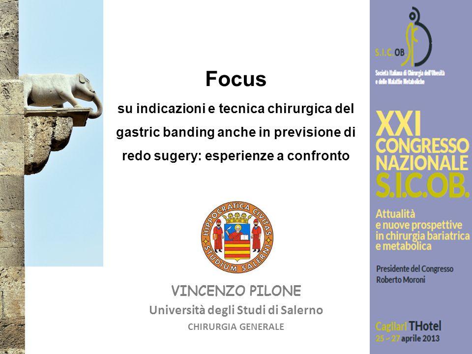 VINCENZO PILONE Università degli Studi di Salerno CHIRURGIA GENERALE Focus su indicazioni e tecnica chirurgica del gastric banding anche in previsione