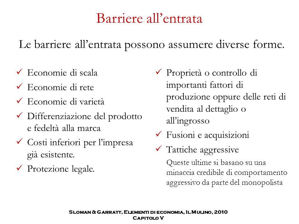 Sloman & Garratt, Elementi di economia, Il Mulino, 2010 Capitolo V Barriere all'entrata Le barriere all'entrata possono assumere diverse forme.