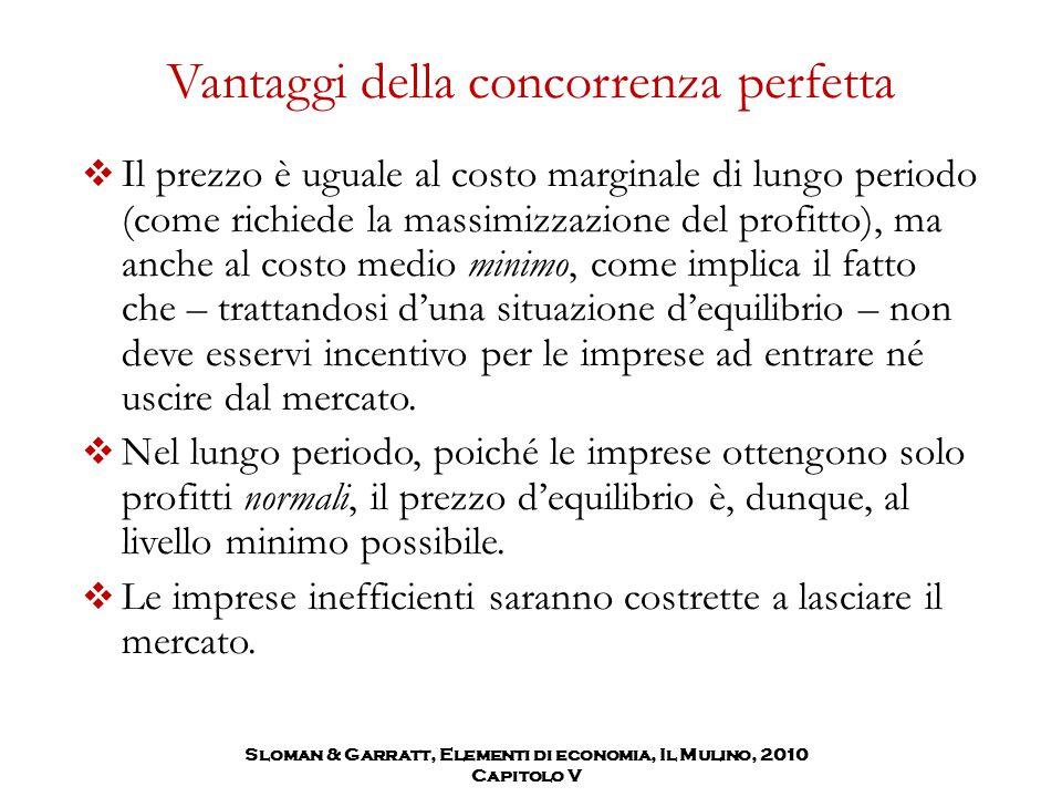 Sloman & Garratt, Elementi di economia, Il Mulino, 2010 Capitolo V Vantaggi della concorrenza perfetta  Il prezzo è uguale al costo marginale di lung
