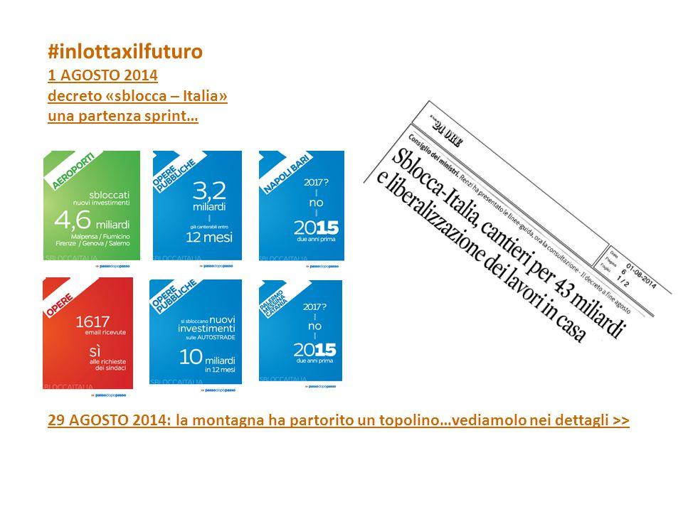 #inlottaxilfuturo 1 AGOSTO 2014 decreto «sblocca – Italia» una partenza sprint… 29 AGOSTO 2014: la montagna ha partorito un topolino…vediamolo nei dettagli >>