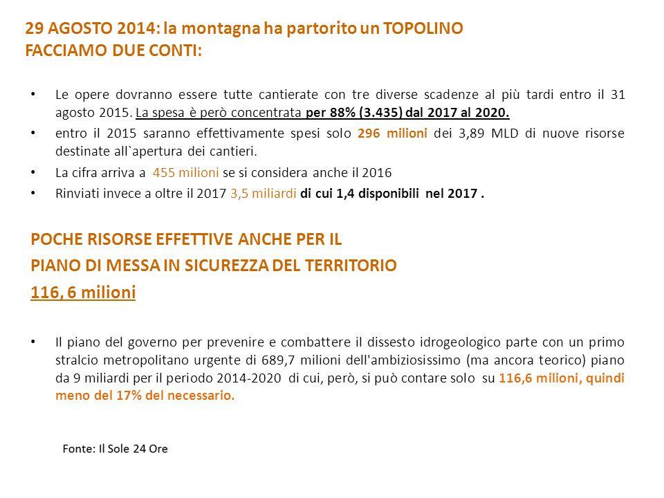 29 AGOSTO 2014: la montagna ha partorito un TOPOLINO FACCIAMO DUE CONTI: Le opere dovranno essere tutte cantierate con tre diverse scadenze al più tardi entro il 31 agosto 2015.