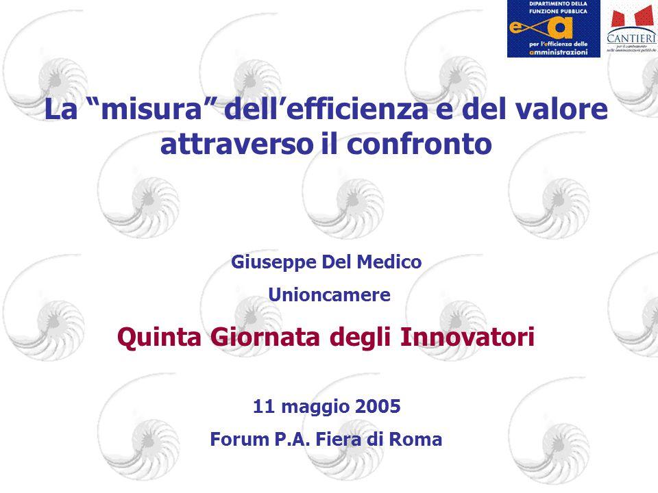 La misura dell'efficienza e del valore attraverso il confronto Giuseppe Del Medico Unioncamere Quinta Giornata degli Innovatori 11 maggio 2005 Forum P.A.