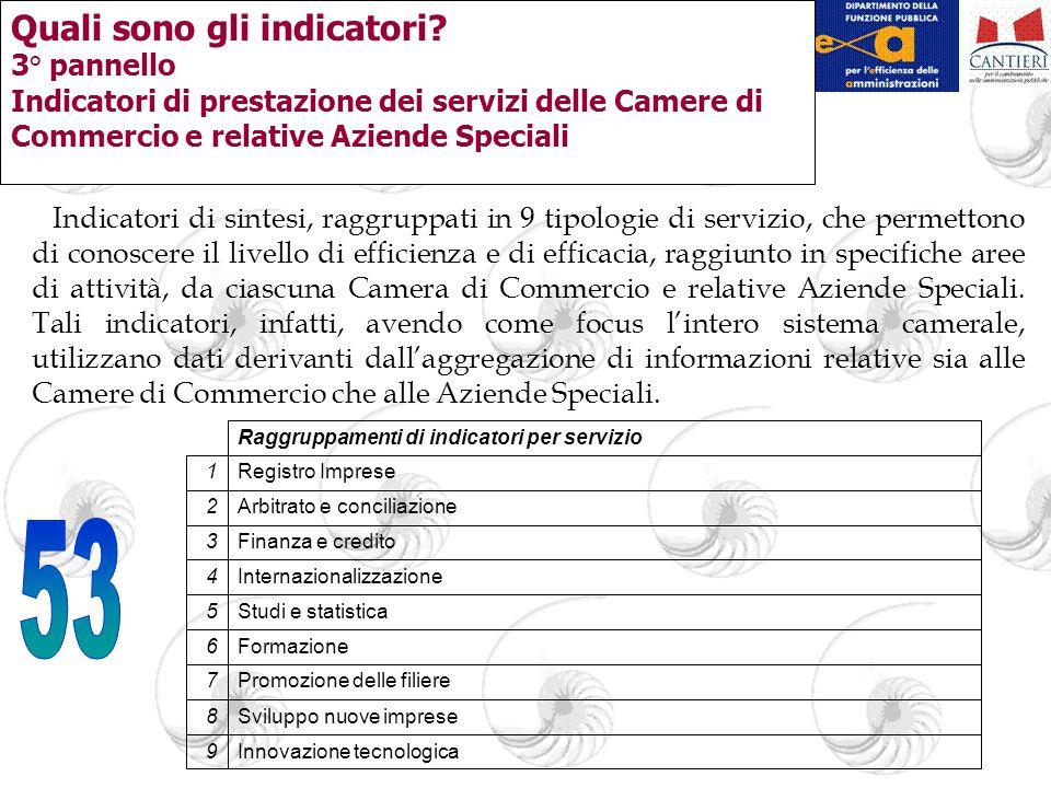 Quali sono gli indicatori? 3° pannello Indicatori di prestazione dei servizi delle Camere di Commercio e relative Aziende Speciali Indicatori di sinte