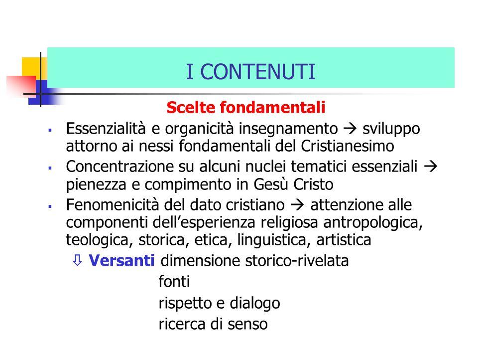 I CONTENUTI Scelte fondamentali  Essenzialità e organicità insegnamento  sviluppo attorno ai nessi fondamentali del Cristianesimo  Concentrazione s