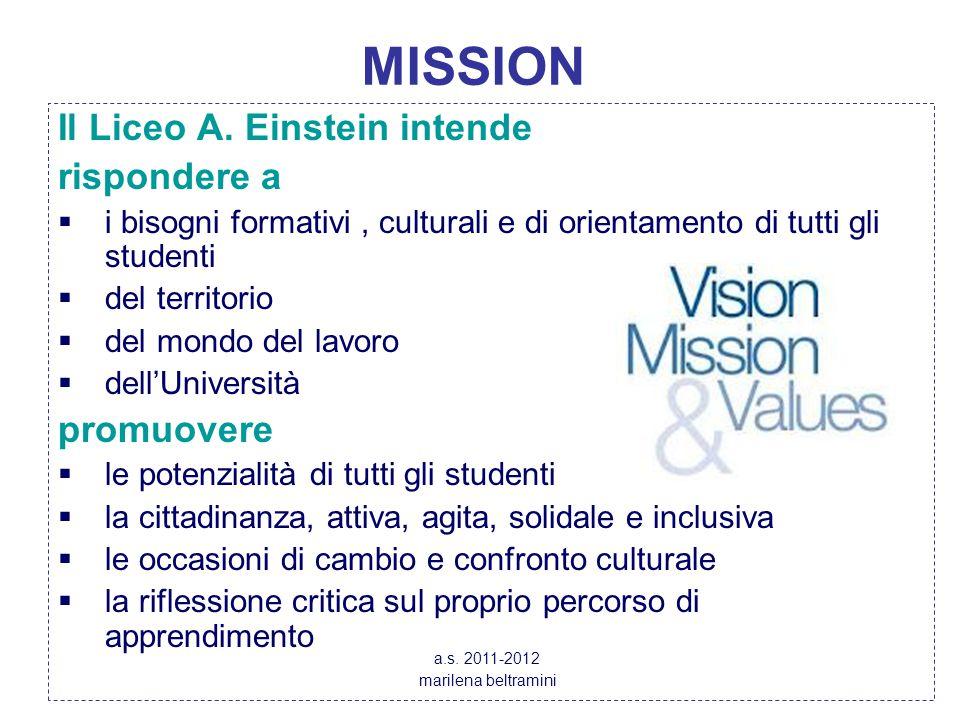 MISSION Il Liceo A. Einstein intende rispondere a  i bisogni formativi, culturali e di orientamento di tutti gli studenti  del territorio  del mond