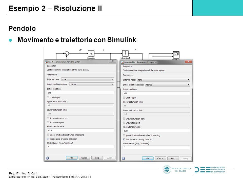 Pag.17 – Ing. R. Carli Laboratorio di Analisi dei Sistemi - Politecnico di Bari, A.A.
