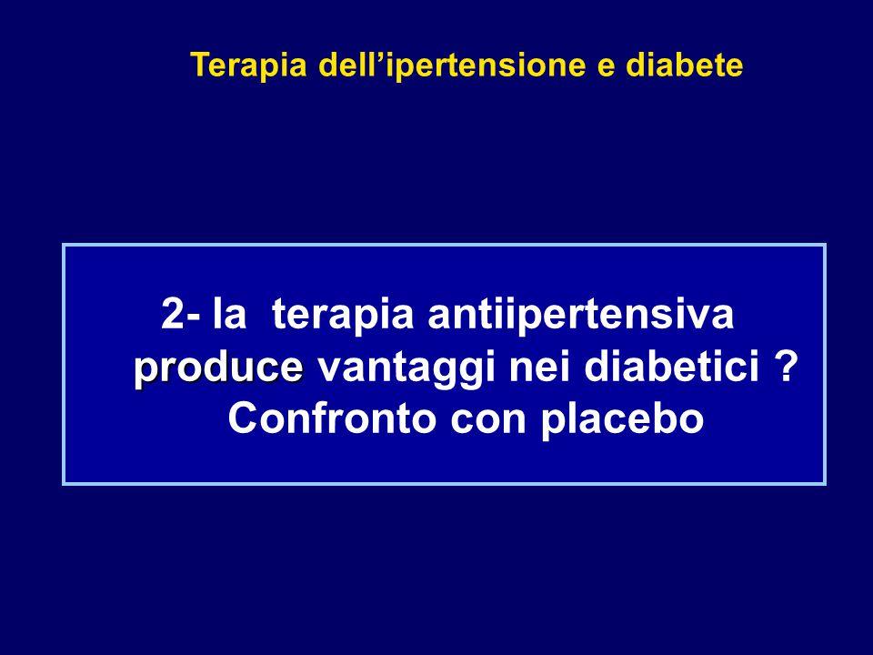 Terapia dell'ipertensione e diabete produce 2- la terapia antiipertensiva produce vantaggi nei diabetici ? Confronto con placebo