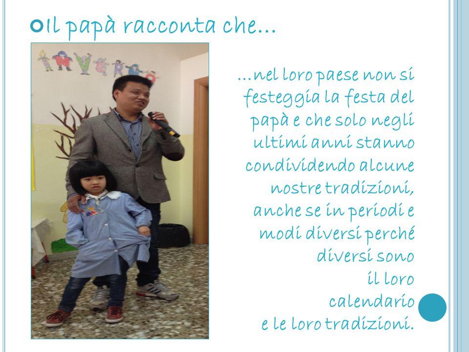 Il papà racconta che… …nel loro paese non si festeggia la festa del papà e che solo negli ultimi anni stanno condividendo alcune nostre tradizioni, an