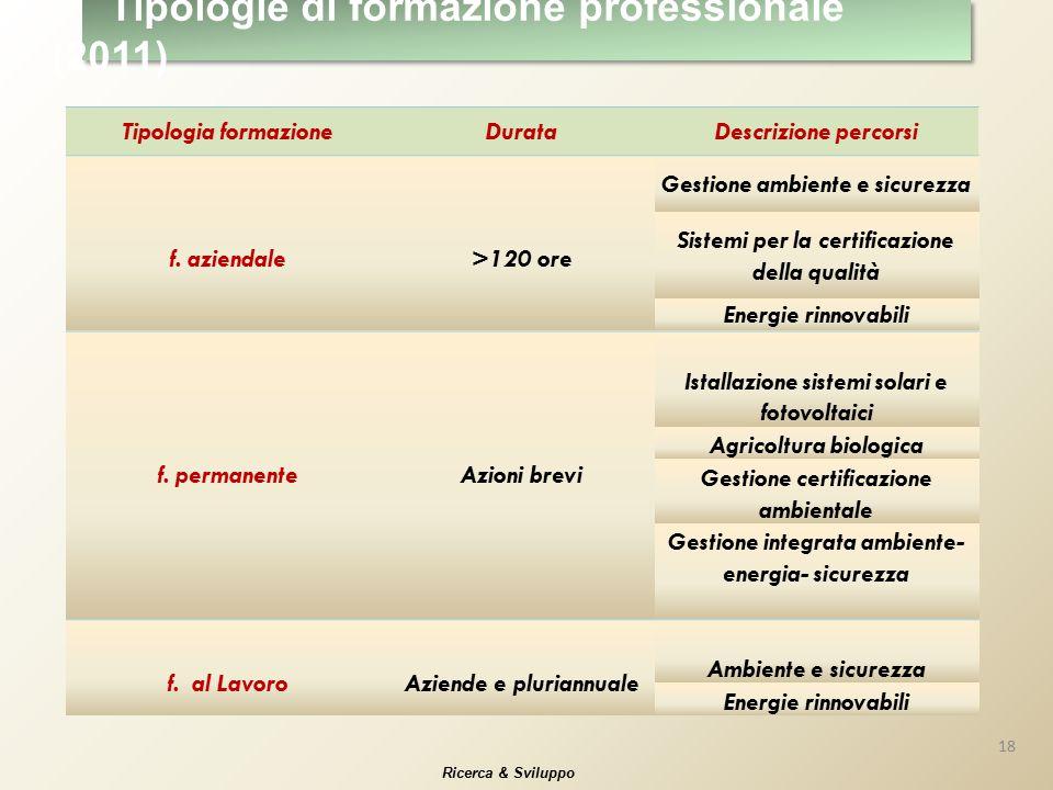 Tipologia formazioneDurataDescrizione percorsi f.