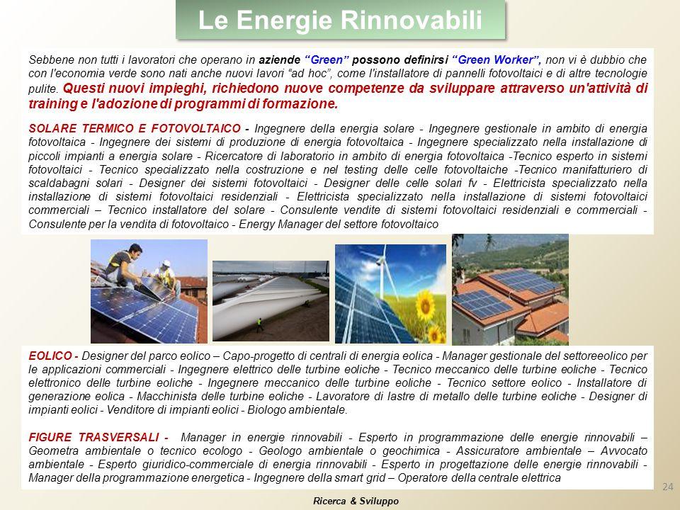 Le Energie Rinnovabili Ricerca & Sviluppo Sebbene non tutti i lavoratori che operano in aziende Green possono definirsi Green Worker , non vi è dubbio che con l economia verde sono nati anche nuovi lavori ad hoc , come l installatore di pannelli fotovoltaici e di altre tecnologie pulite.