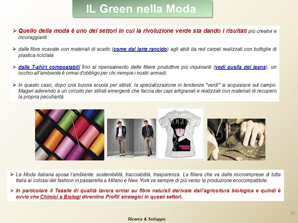 IL Green nella Moda  Quello della moda è uno dei settori in cui la rivoluzione verde sta dando i risultat i più creativi e incoraggianti:  dalle fib
