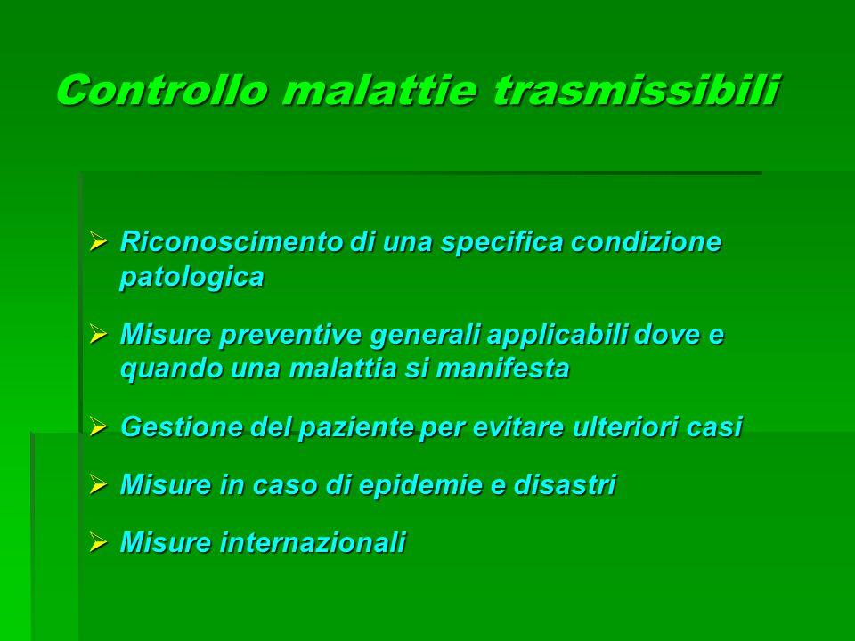 Controllo malattie trasmissibili  Riconoscimento di una specifica condizione patologica  Misure preventive generali applicabili dove e quando una ma