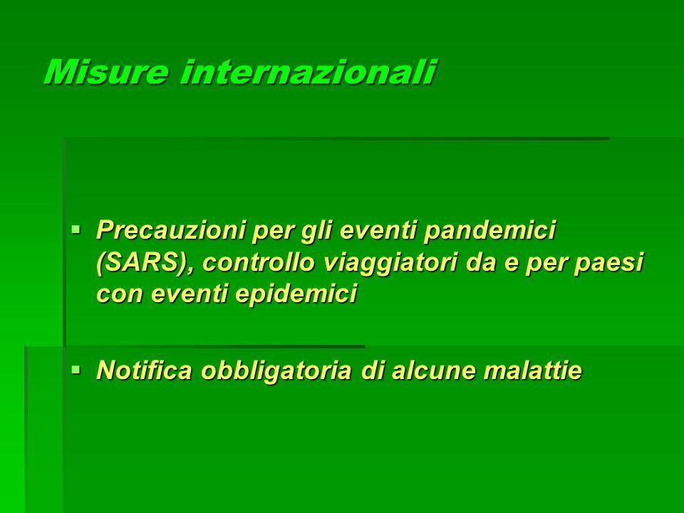 Misure internazionali  Precauzioni per gli eventi pandemici (SARS), controllo viaggiatori da e per paesi con eventi epidemici  Notifica obbligatoria