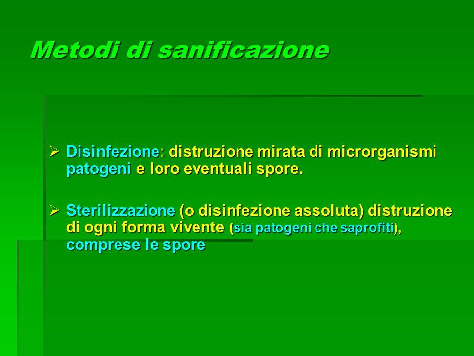 Metodi di sanificazione  Disinfezione: distruzione mirata di microrganismi patogeni e loro eventuali spore.  Sterilizzazione (o disinfezione assolut