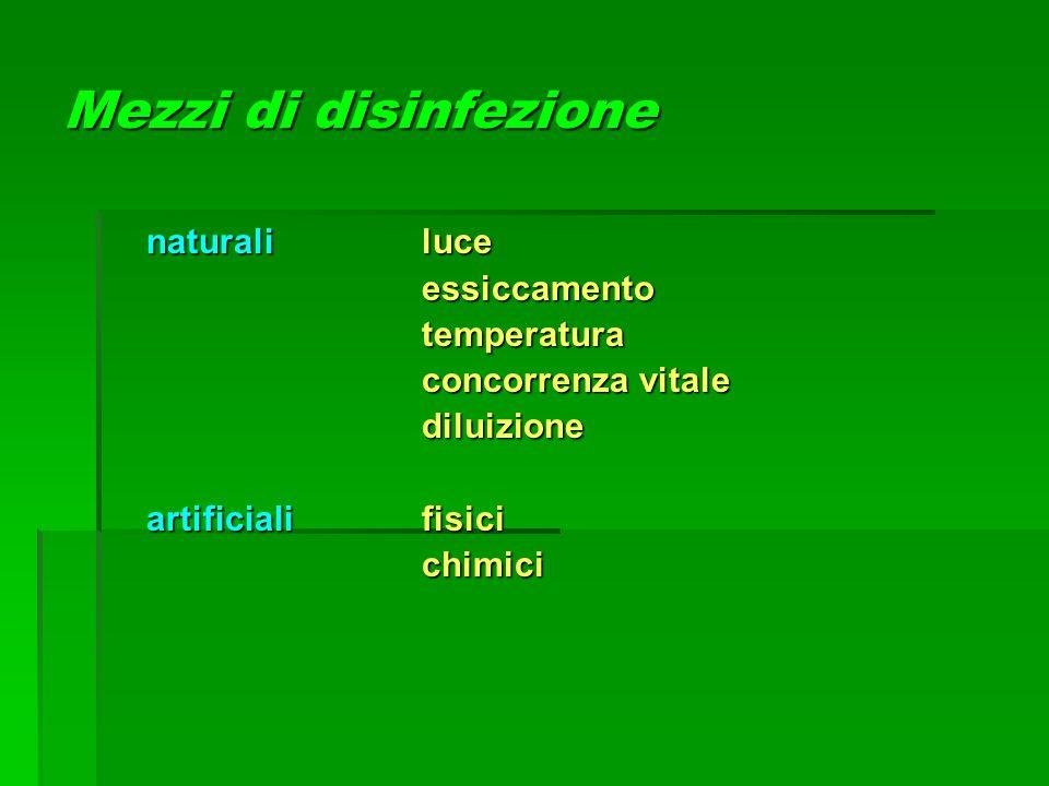Mezzi di disinfezione naturaliluce essiccamentotemperatura concorrenza vitale diluizione artificialifisici chimici