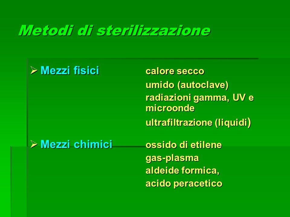 Metodi di sterilizzazione  Mezzi fisici calore secco umido (autoclave) umido (autoclave) radiazioni gamma, UV e microonde ultrafiltrazione (liquidi )