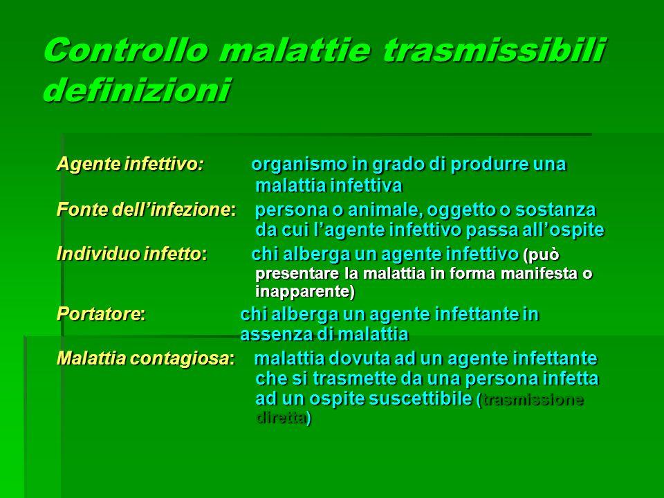Controllo malattie trasmissibili definizioni Agente infettivo: organismo in grado di produrre una malattia infettiva Fonte dell'infezione: persona o a