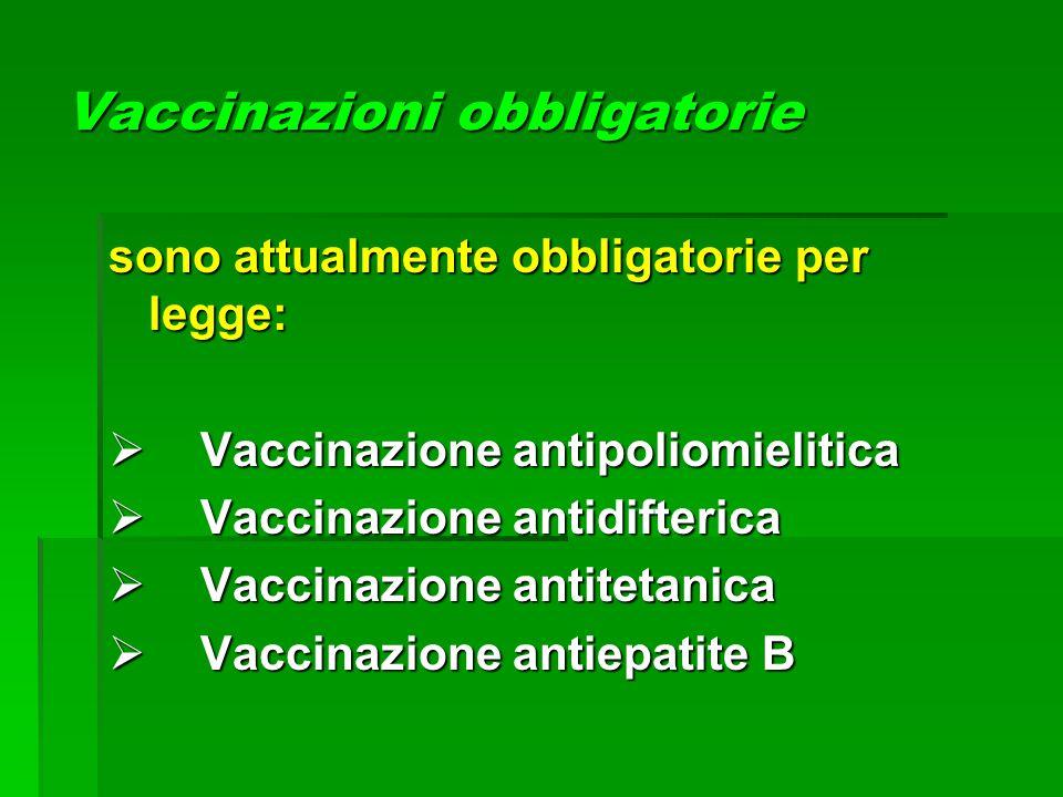 Vaccinazioni obbligatorie sono attualmente obbligatorie per legge:  Vaccinazione antipoliomielitica  Vaccinazione antidifterica  Vaccinazione antit