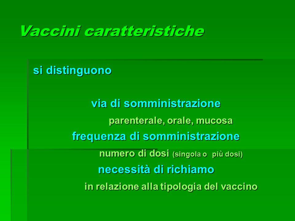 Vaccini caratteristiche si distinguono si distinguono via di somministrazione parenterale, orale, mucosa frequenza di somministrazione numero di dosi