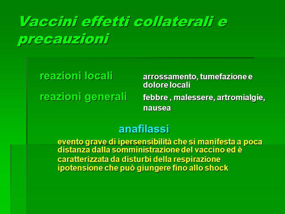 Vaccini effetti collaterali e precauzioni reazioni locali arrossamento, tumefazione e dolore locali reazioni generali febbre, malessere, artromialgie,