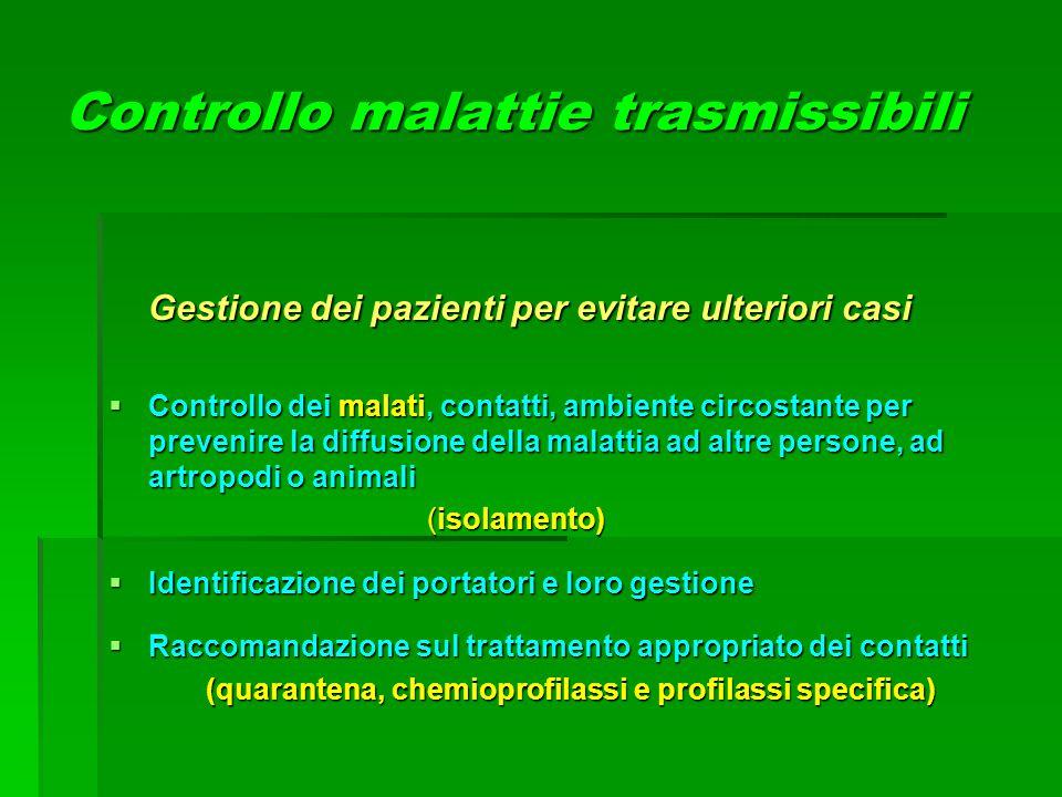 Controllo malattie trasmissibili Gestione dei pazienti per evitare ulteriori casi  Controllo dei malati, contatti, ambiente circostante per prevenire
