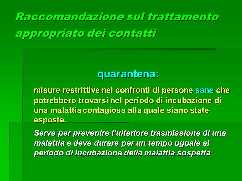 Raccomandazione sul trattamento appropriato dei contatti quarantena: misure restrittive nei confronti di persone sane che potrebbero trovarsi nel peri