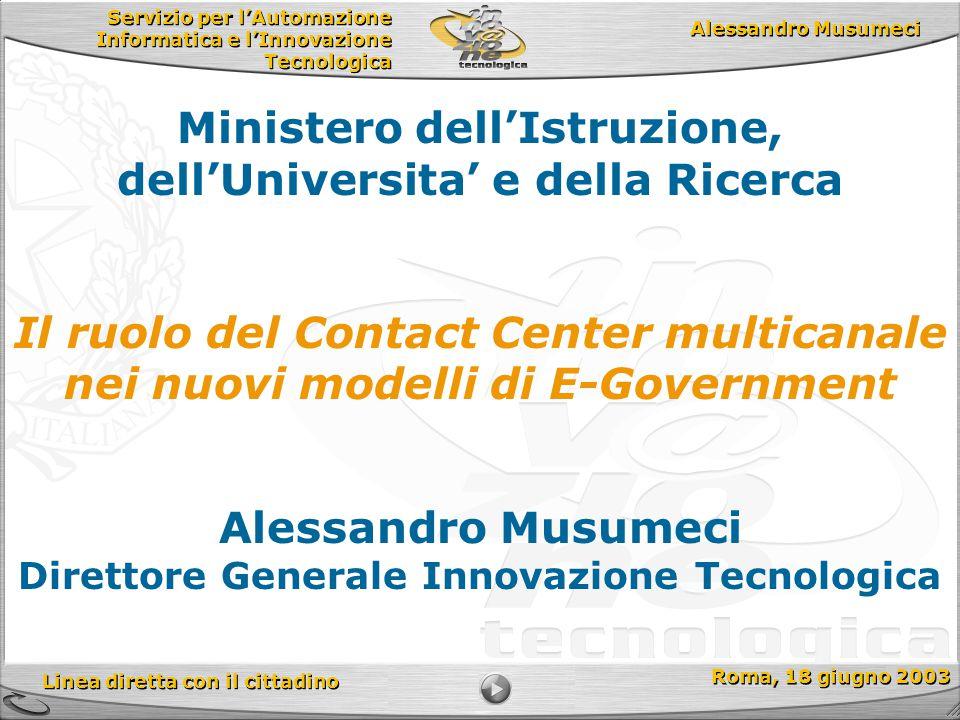 Servizio per l'Automazione Informatica e l'Innovazione Tecnologica Linea diretta con il cittadino Roma, 18 giugno 2003 Alessandro Musumeci Direttore G
