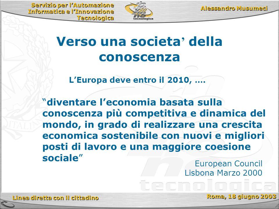 Servizio per l'Automazione Informatica e l'Innovazione Tecnologica Linea diretta con il cittadino Roma, 18 giugno 2003 Alessandro Musumeci Verso una societa ' della conoscenza L'Europa deve entro il 2010, ….