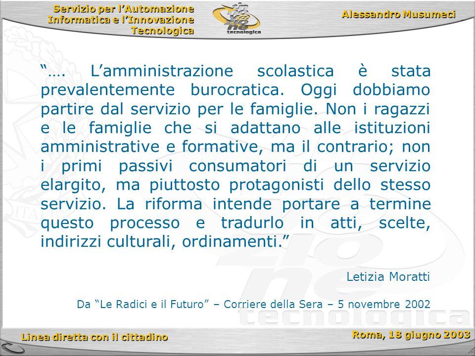 Servizio per l'Automazione Informatica e l'Innovazione Tecnologica Linea diretta con il cittadino Roma, 18 giugno 2003 Alessandro Musumeci ….