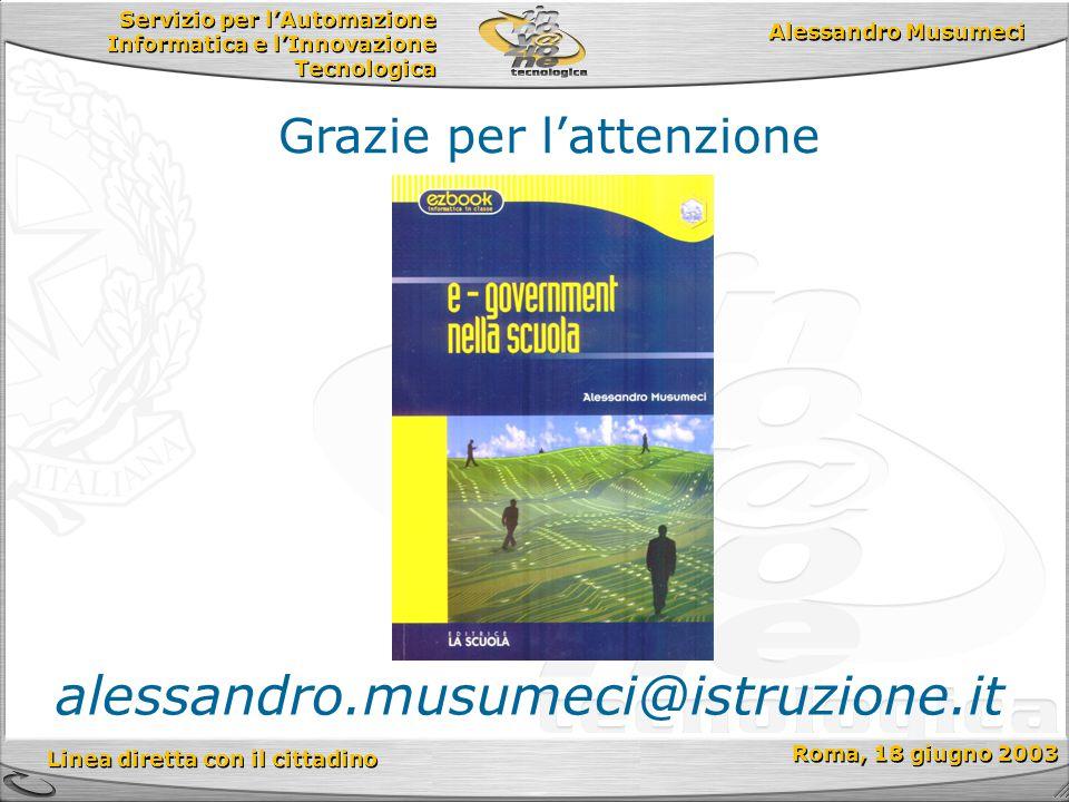 Servizio per l'Automazione Informatica e l'Innovazione Tecnologica Linea diretta con il cittadino Roma, 18 giugno 2003 Alessandro Musumeci Grazie per l'attenzione alessandro.musumeci@istruzione.it