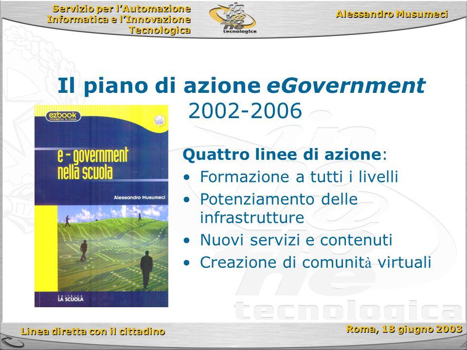 Servizio per l'Automazione Informatica e l'Innovazione Tecnologica Linea diretta con il cittadino Roma, 18 giugno 2003 Alessandro Musumeci Il piano di