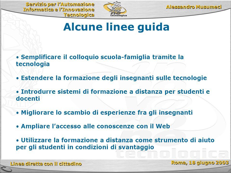 Servizio per l'Automazione Informatica e l'Innovazione Tecnologica Linea diretta con il cittadino Roma, 18 giugno 2003 Alessandro Musumeci Alcune line