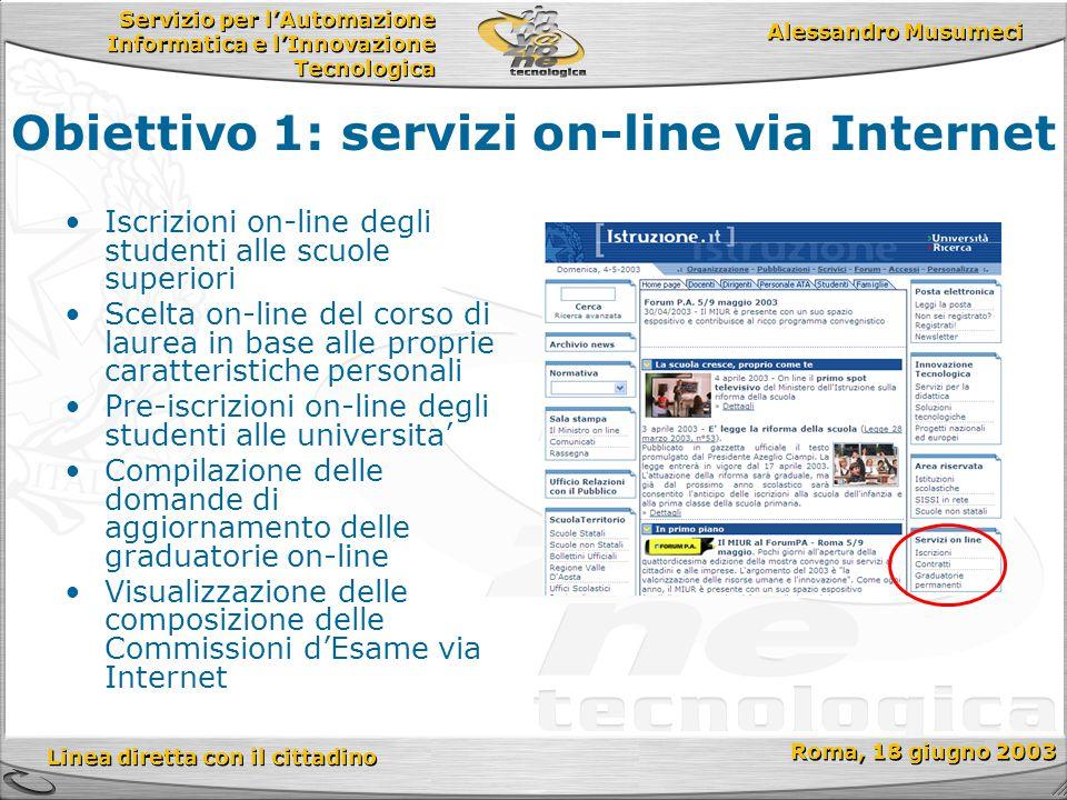 Servizio per l'Automazione Informatica e l'Innovazione Tecnologica Linea diretta con il cittadino Roma, 18 giugno 2003 Alessandro Musumeci Iscrizioni