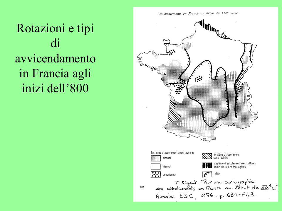 Rotazioni e tipi di avvicendamento in Francia agli inizi dell'800