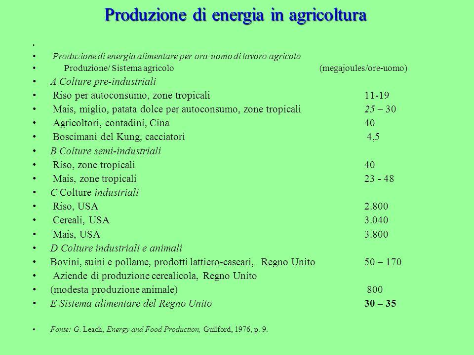 Produzione di energia alimentare per ora-uomo di lavoro agricolo Produzione/ Sistema agricolo (megajoules/ore-uomo) A Colture pre-industriali Riso per autoconsumo, zone tropicali 11-19 Mais, miglio, patata dolce per autoconsumo, zone tropicali 25 – 30 Agricoltori, contadini, Cina 40 Boscimani del Kung, cacciatori 4,5 B Colture semi-industriali Riso, zone tropicali 40 Mais, zone tropicali 23 - 48 C Colture industriali Riso, USA2.800 Cereali, USA3.040 Mais, USA 3.800 D Colture industriali e animali Bovini, suini e pollame, prodotti lattiero-caseari, Regno Unito50 – 170 Aziende di produzione cerealicola, Regno Unito (modesta produzione animale) 800 E Sistema alimentare del Regno Unito 30 – 35 Fonte: G.