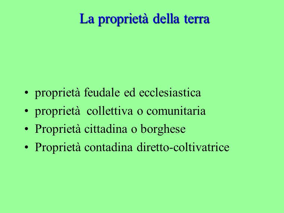 La proprietà della terra proprietà feudale ed ecclesiastica proprietà collettiva o comunitaria Proprietà cittadina o borghese Proprietà contadina diretto-coltivatrice