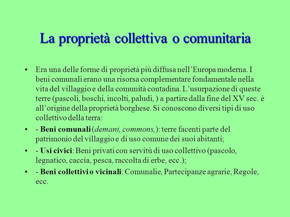 La proprietà collettiva o comunitaria Era una delle forme di proprietà più diffusa nell'Europa moderna.