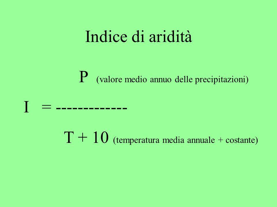 Indice di aridità P (valore medio annuo delle precipitazioni) I = ------------- T + 10 (temperatura media annuale + costante)