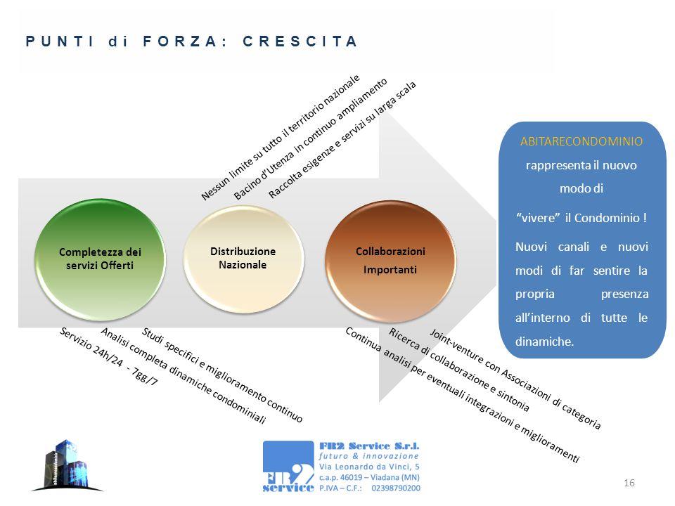 16 PUNTI di FORZA: CRESCITA Completezza dei servizi Offerti Studi specifici e miglioramento continuo Analisi completa dinamiche condominiali Servizio