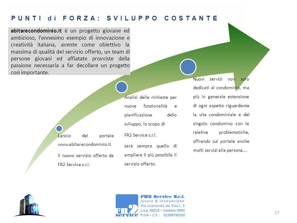 17 PUNTI di FORZA: SVILUPPO COSTANTE Lancio del portale www.abitarecondominio.it il nuovo servizio offerto da FR2 Service s.r.l. Analisi delle richies