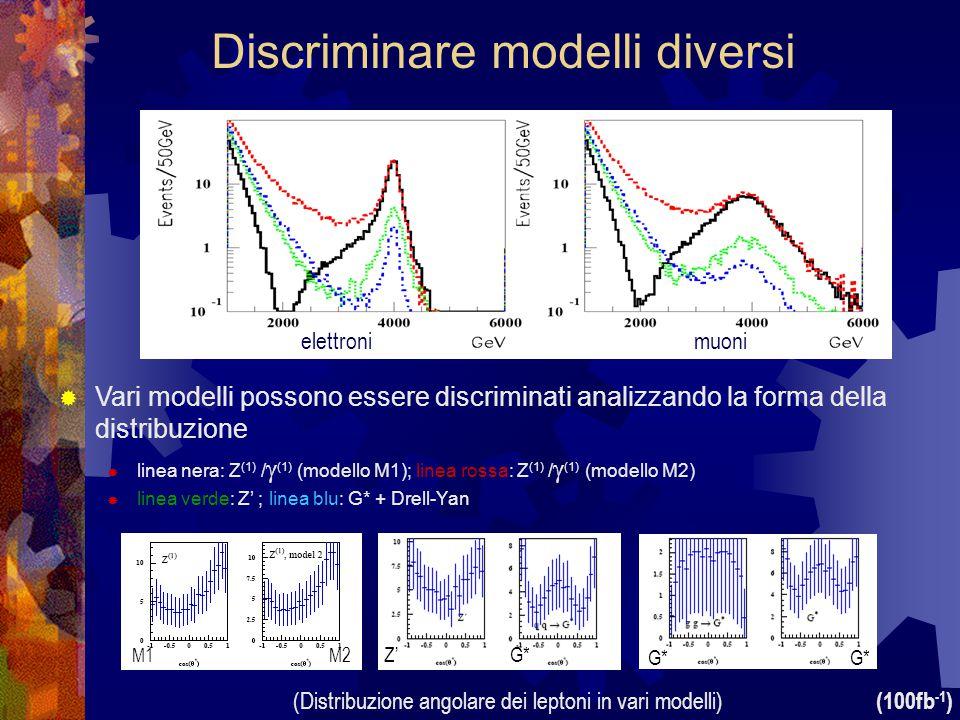 (100fb -1 )  Vari modelli possono essere discriminati analizzando la forma della distribuzione  linea nera: Z (1) /  (1) (modello M1); linea rossa: Z (1) /  (1) (modello M2)  linea verde: Z' ; linea blu: G* + Drell-Yan elettronimuoni Discriminare modelli diversi (Distribuzione angolare dei leptoni in vari modelli) Z'G* M2M1 G*